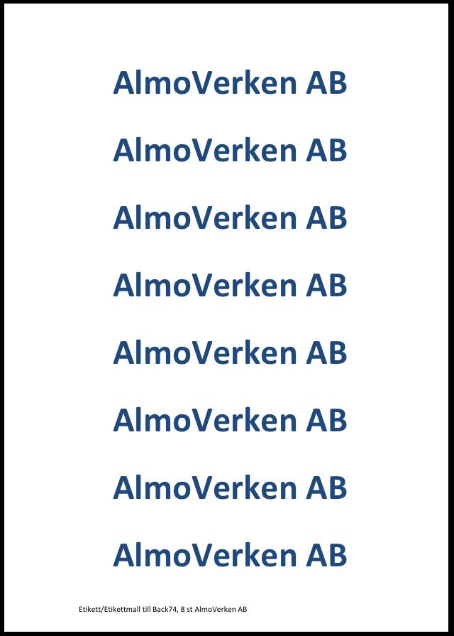 Adhesive label to Bin74