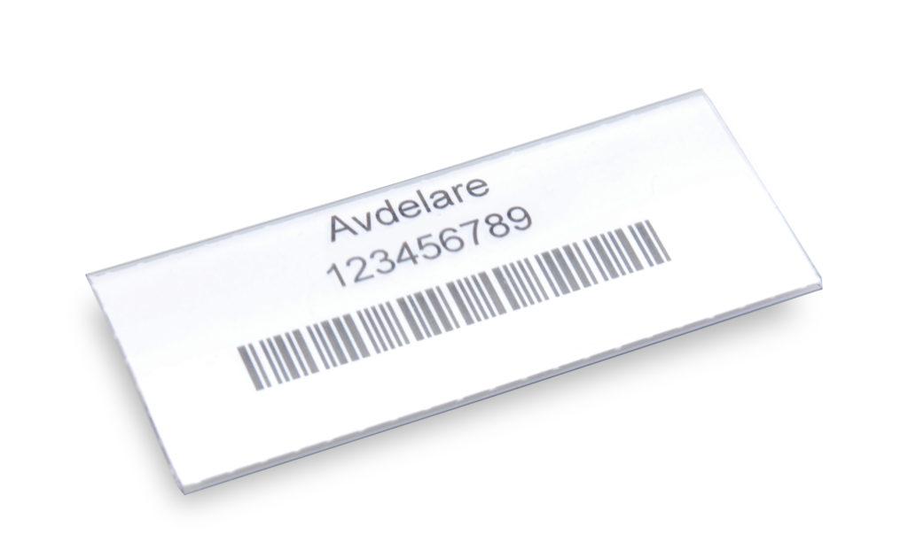 Etikett med hållare 60×30 mm